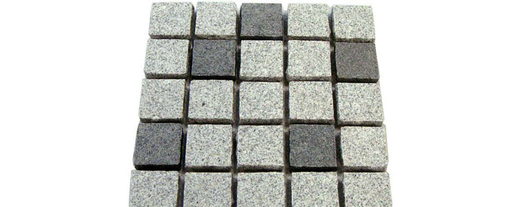 GM0360 - 4x4 Ancient grey and salt and pepper mesh granite straight pattern.