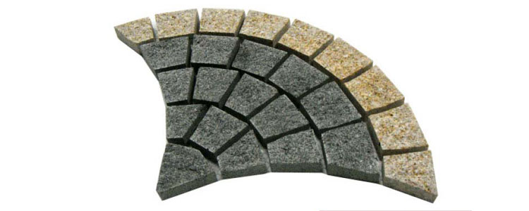 GM0310 - Ancient grey with gold border granite fan pattern.