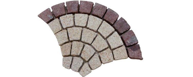 GM0322 - Gold and redstar borders granite fan pattern.