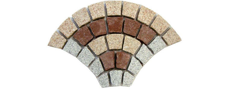 GM0323 - Gold-redstar and salt and pepper colors granite fan pattern.