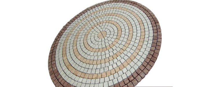 GM0306 - Gold, salt and pepper and redstar color granite circle insert.