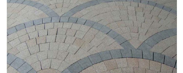 GM0311 - Gold with dark grey borders granite fan pattern.