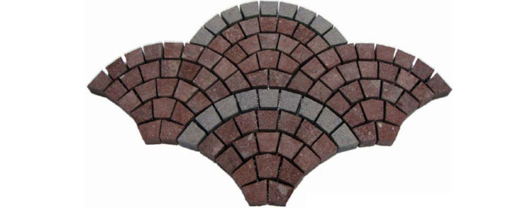 GM0320 - Redstar and ancient grey borders granite fan pattern.