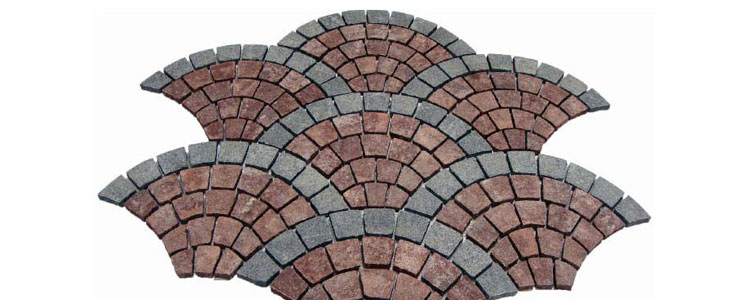 GM0314 - Redstar and dark grey borders granite fan pattern.