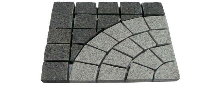 GM0353 - Salt and pepper and jet black mesh granite square circle pattern.