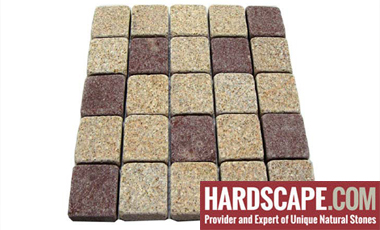 GM0341 - 4x4 Gold and redstar mesh granite straight pattern.