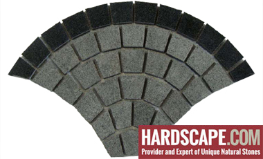 GM0325 - Ancient Grey and Jet black border granite fan pattern.