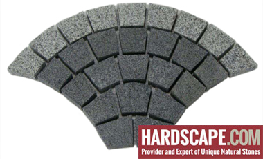 GM0316 - Ancient grey and salt and pepper border granite fan pattern.