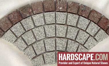 GM0333 - Salt and pepper and redstar border granite fan pattern.